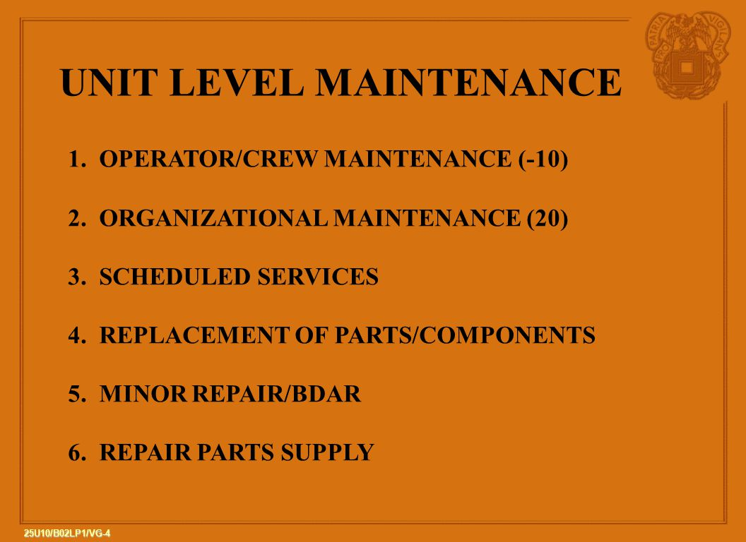 25u10 B02 Lp1 The Army Maintenance Management System Ppt