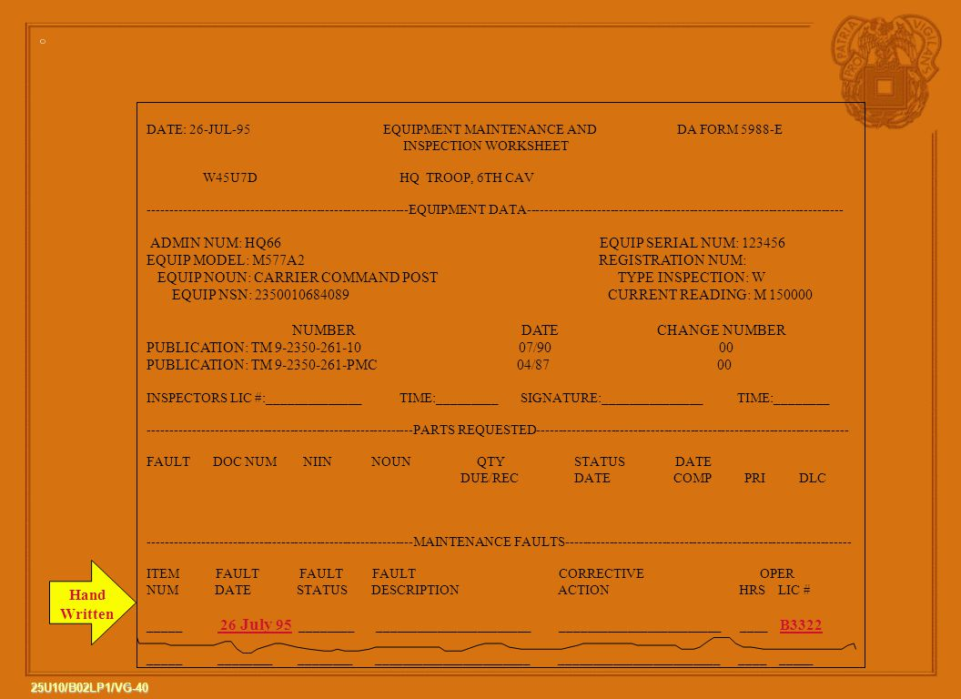 Hand Written EQUIP MODEL: M577A2 REGISTRATION NUM:
