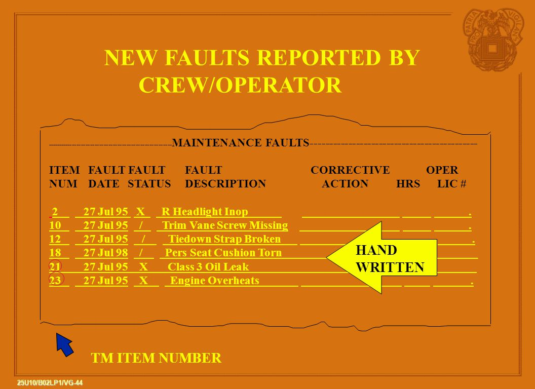 NEW FAULTS REPORTED BY CREW/OPERATOR HAND WRITTEN TM ITEM NUMBER