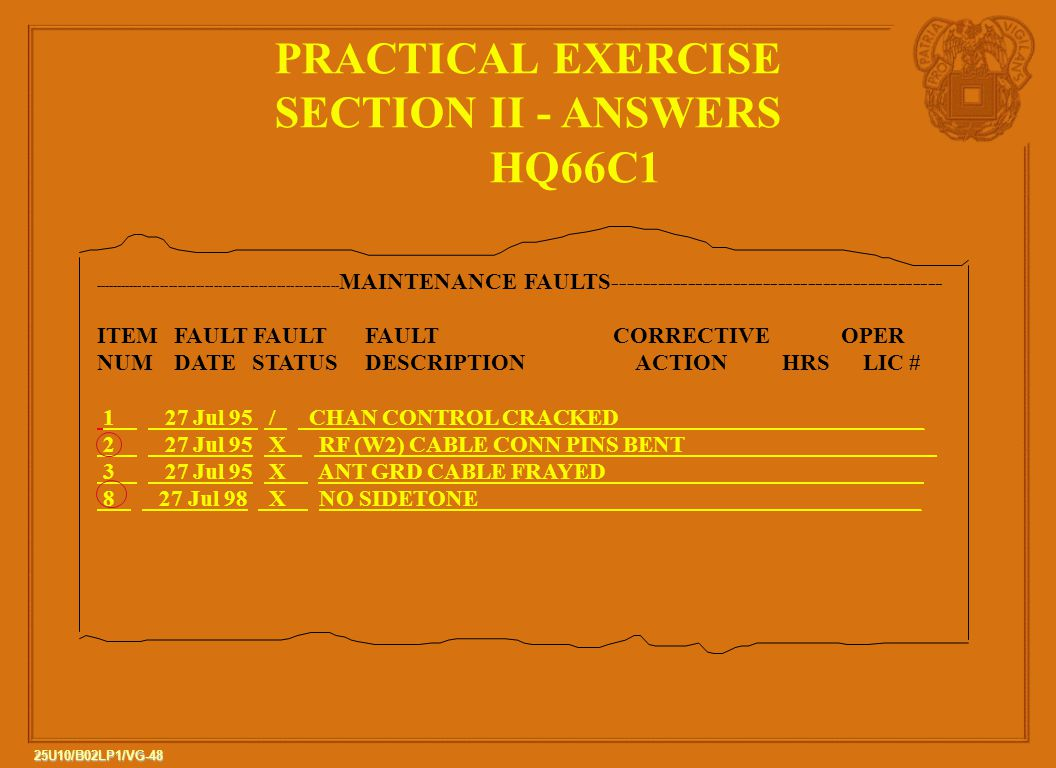PRACTICAL EXERCISE SECTION II - ANSWERS HQ66C1