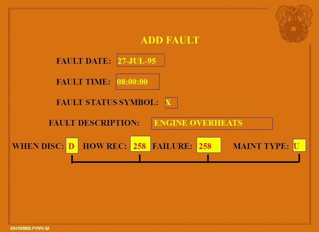 ADD FAULT FAULT DATE: 27-JUL-95 FAULT TIME: 08:00:00