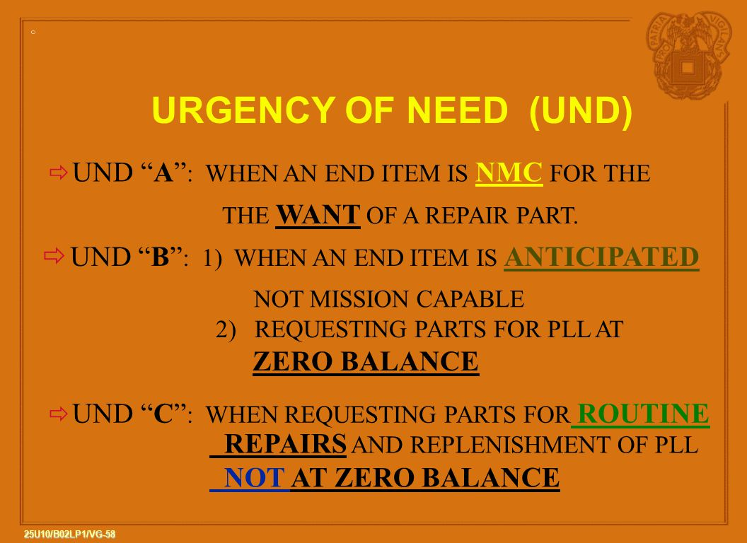 URGENCY OF NEED (UND) UND B : 1) WHEN AN END ITEM IS ANTICIPATED