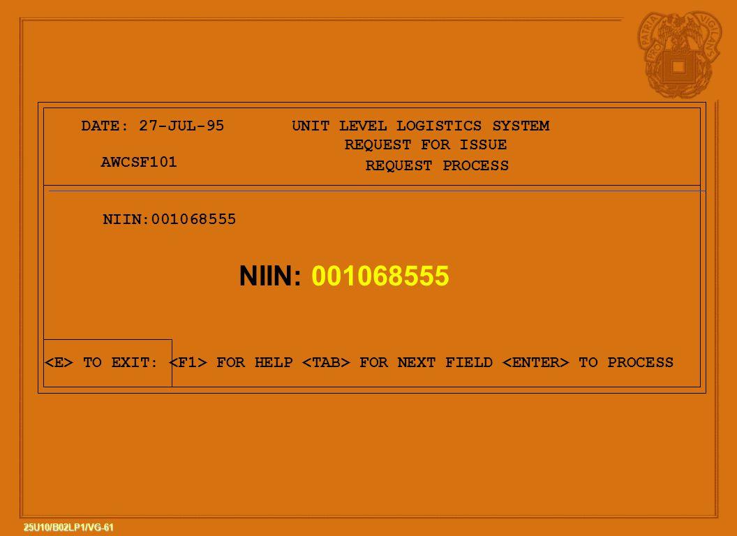 NIIN: 001068555 DATE: 27-JUL-95 UNIT LEVEL LOGISTICS SYSTEM