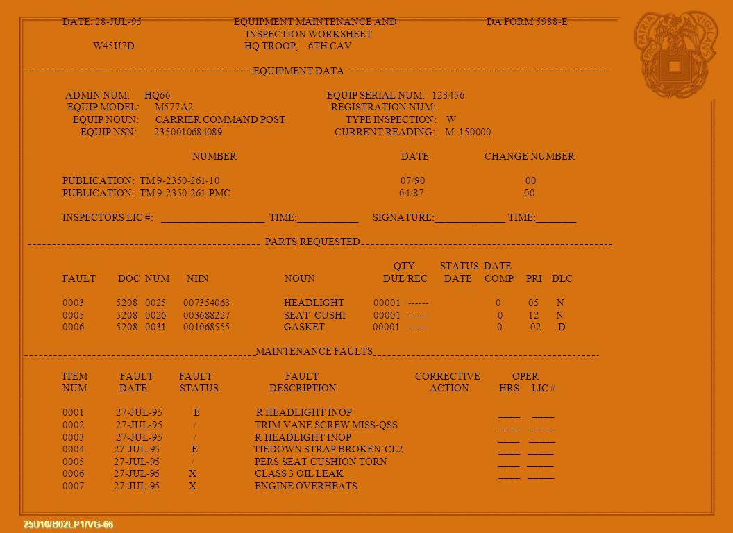 DATE: 28-JUL-95 EQUIPMENT MAINTENANCE AND DA FORM 5988-E