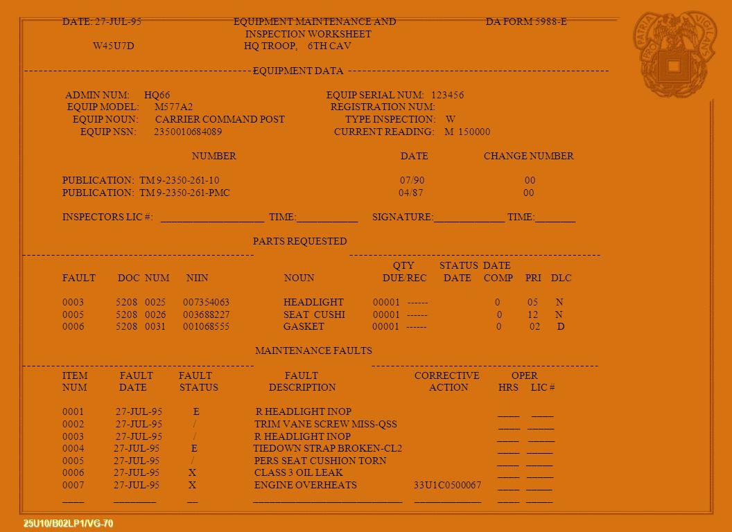 DATE: 27-JUL-95 EQUIPMENT MAINTENANCE AND DA FORM 5988-E