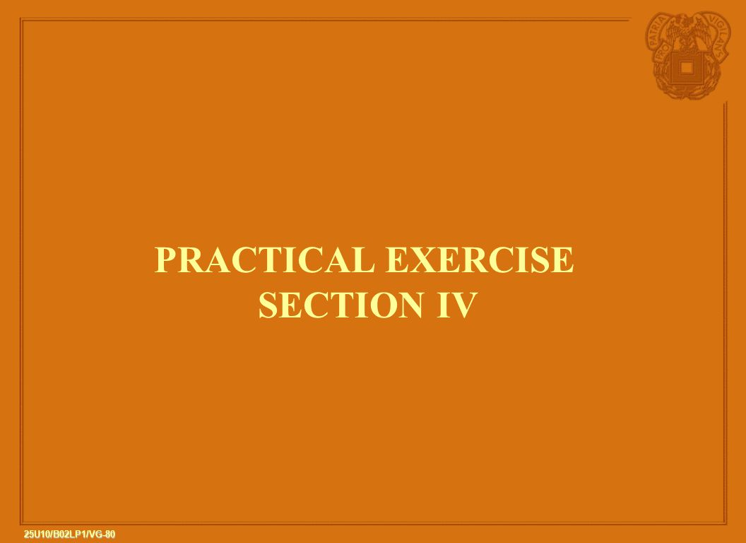 PRACTICAL EXERCISE SECTION IV