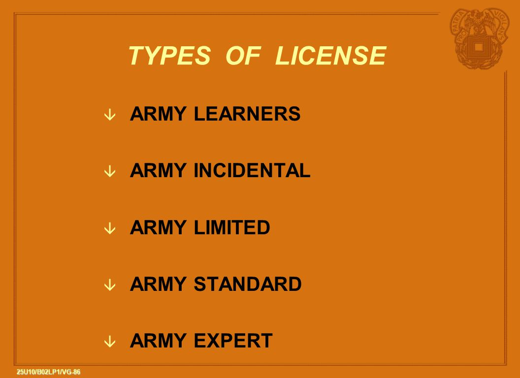 TYPES OF LICENSE ARMY LEARNERS ARMY INCIDENTAL ARMY LIMITED