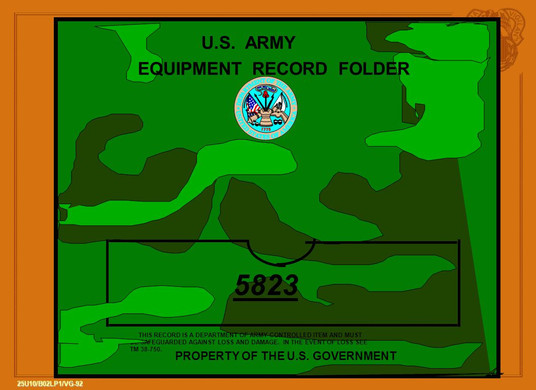 EQUIPMENT RECORD FOLDER PROPERTY OF THE U.S. GOVERNMENT