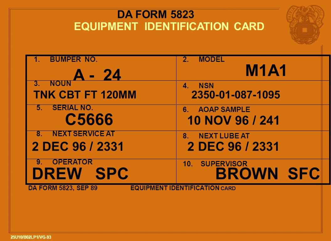 EQUIPMENT IDENTIFICATION CARD