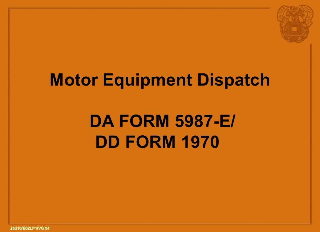 Motor Equipment Dispatch
