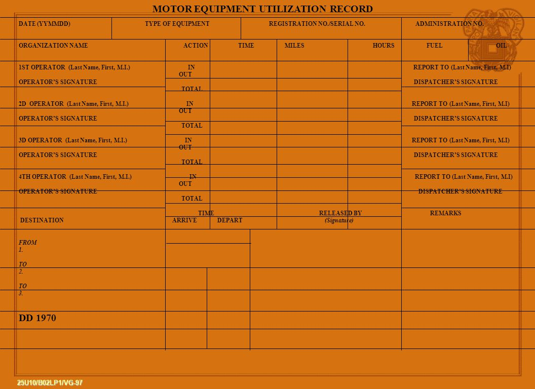 MOTOR EQUIPMENT UTILIZATION RECORD