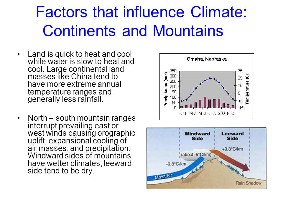 Factors that influence Climate: Continents and Mountains