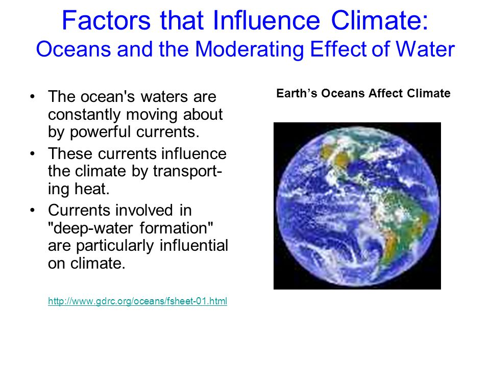 Factors that Influence Climate: Oceans and the Moderating Effect of Water