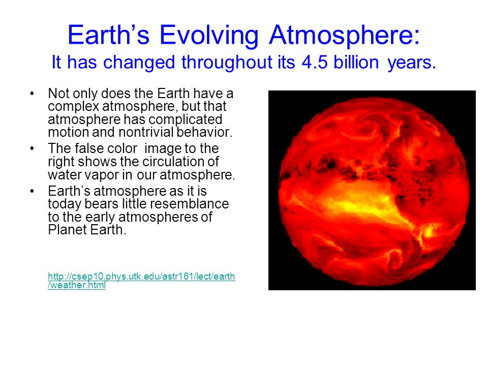 Earth's Evolving Atmosphere: It has changed throughout its 4