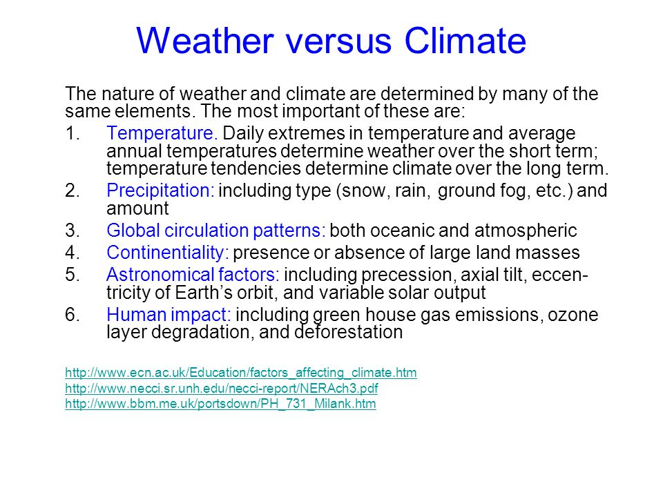 Weather versus Climate