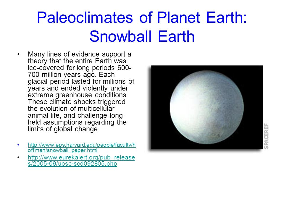 Paleoclimates of Planet Earth: Snowball Earth