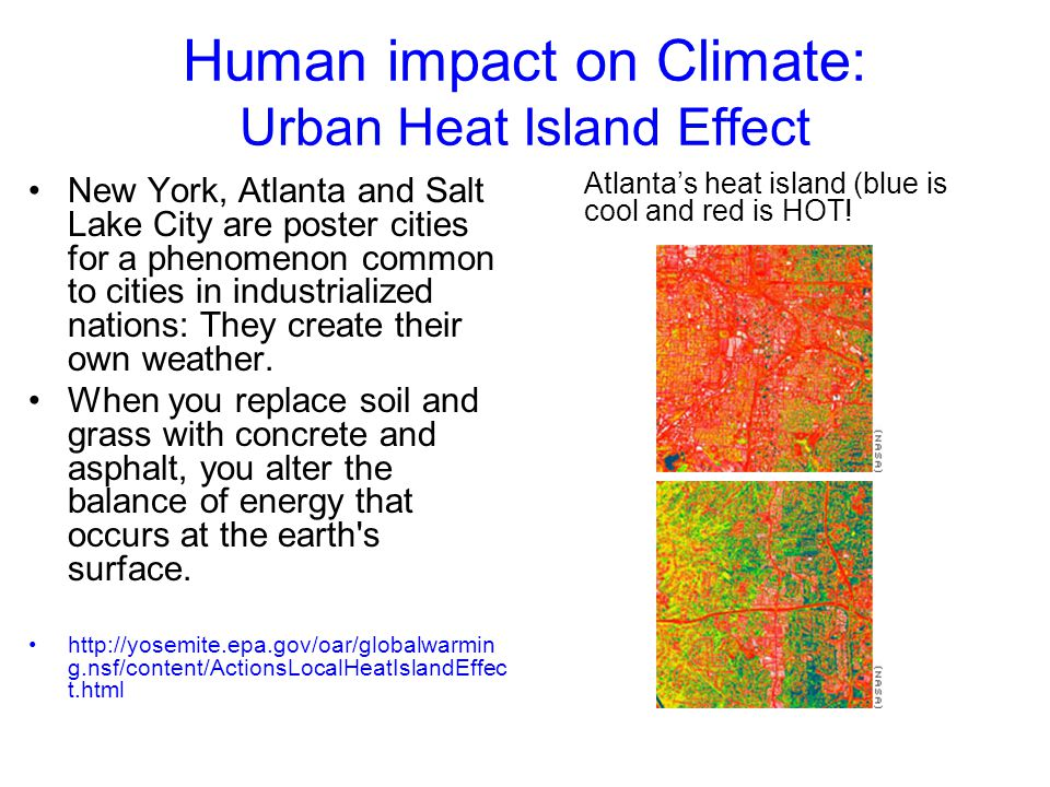 Human impact on Climate: Urban Heat Island Effect