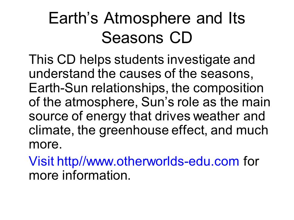 Earth's Atmosphere and Its Seasons CD