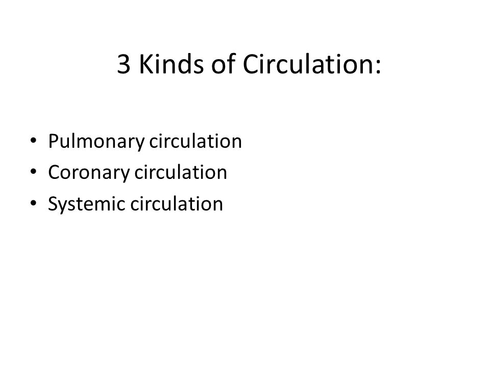 3 Kinds of Circulation: Pulmonary circulation Coronary circulation