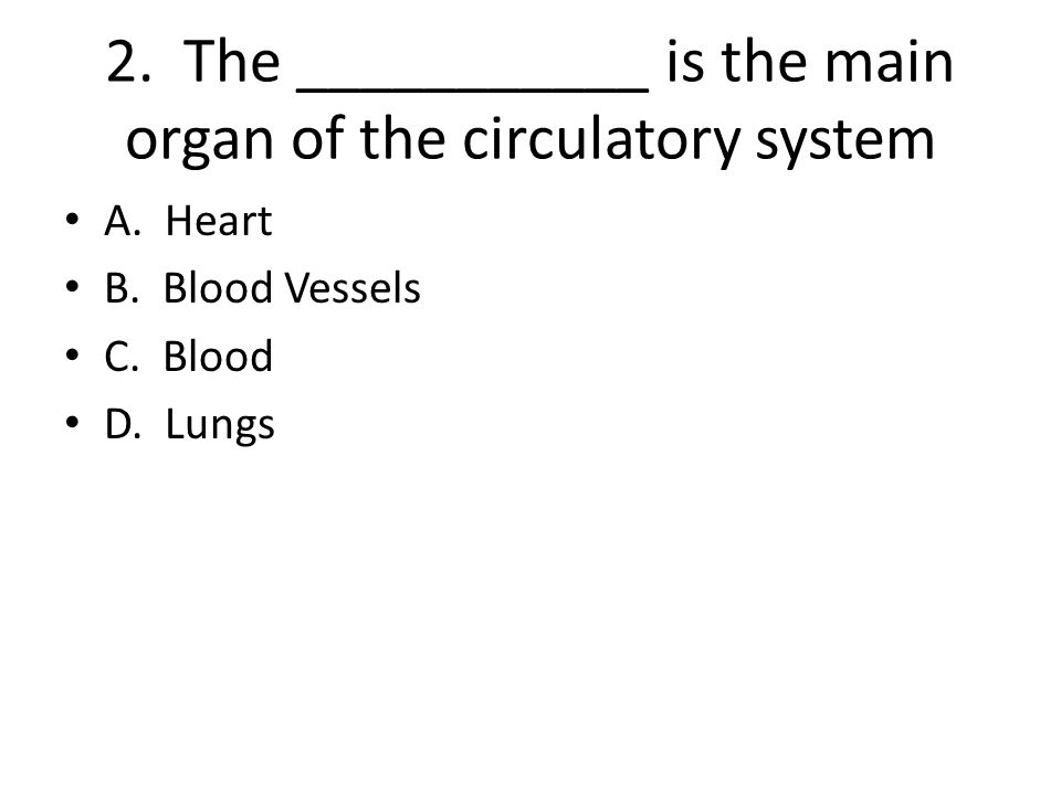 2. The ___________ is the main organ of the circulatory system
