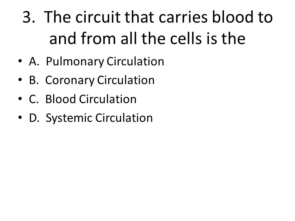 3. The circuit that carries blood to and from all the cells is the