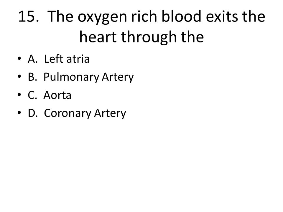 15. The oxygen rich blood exits the heart through the
