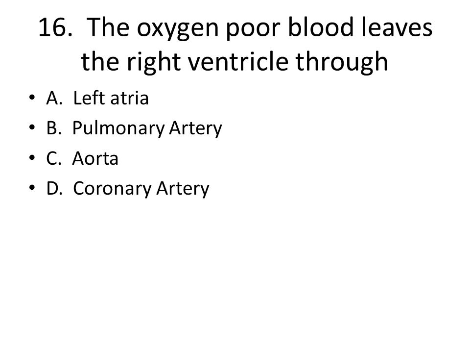 16. The oxygen poor blood leaves the right ventricle through