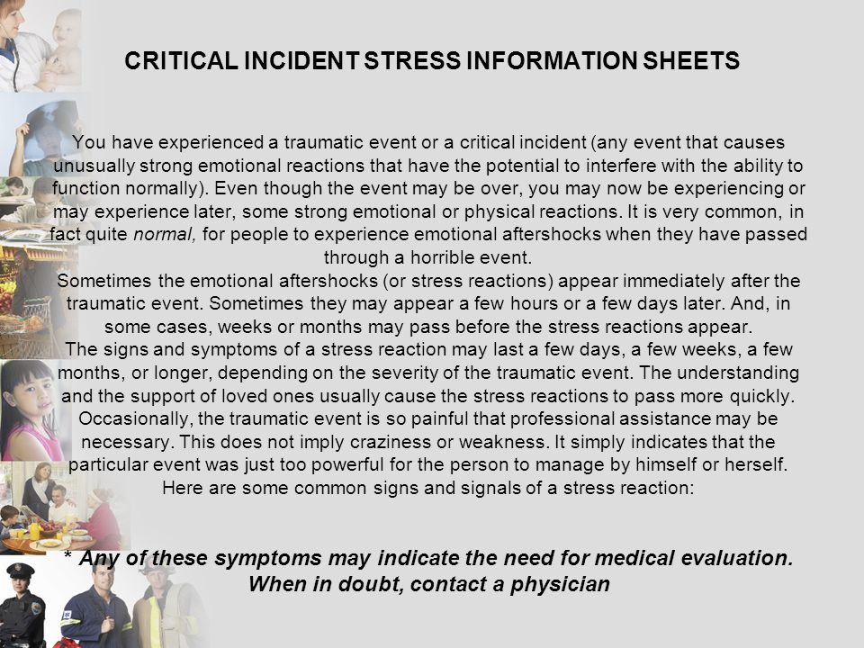 CRITICAL INCIDENT STRESS INFORMATION SHEETS