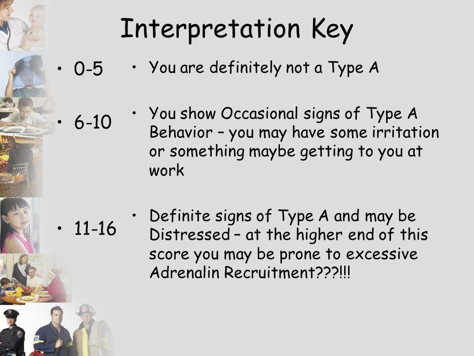 Interpretation Key 0-5 6-10 11-16 You are definitely not a Type A