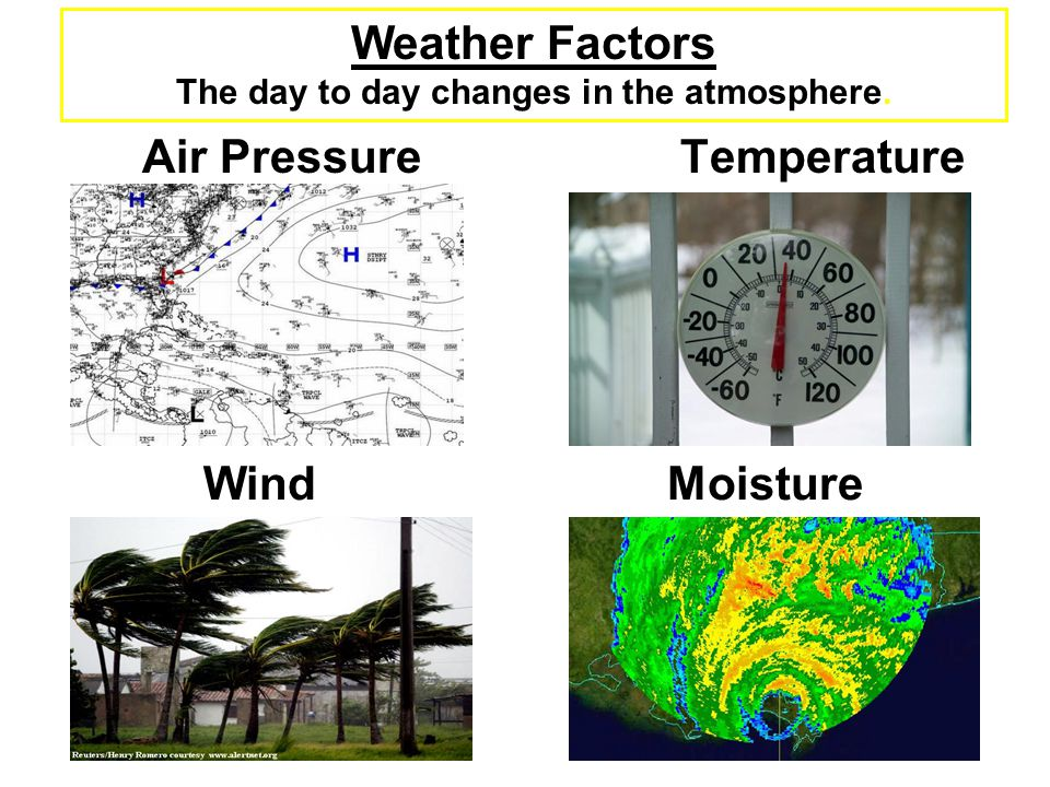 Weather Factors The day to day changes in the atmosphere.