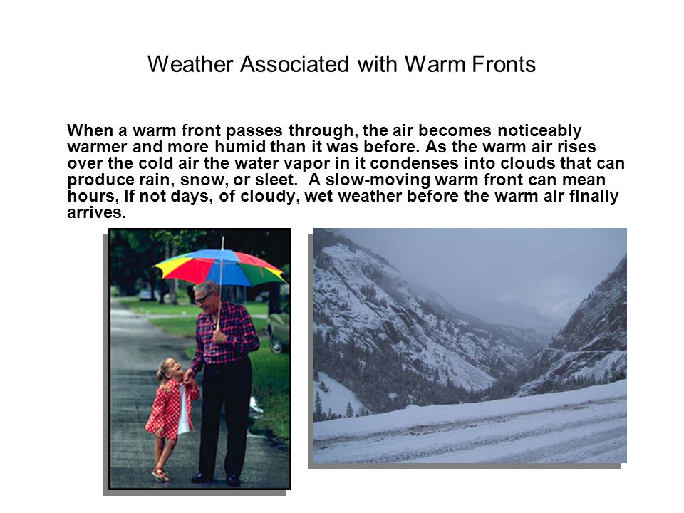 Weather Associated with Warm Fronts
