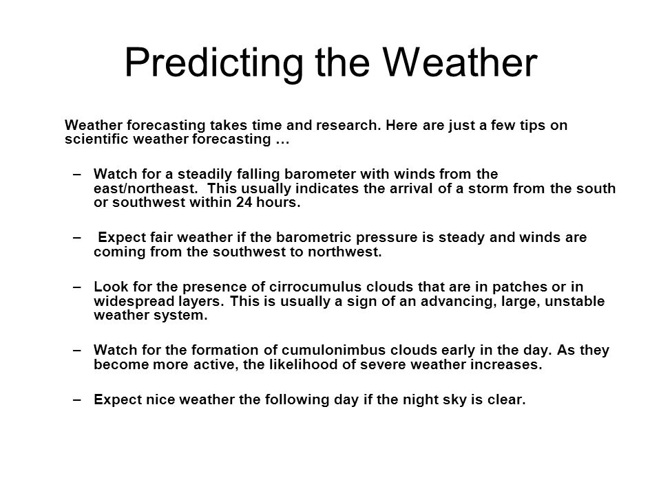 Predicting the Weather
