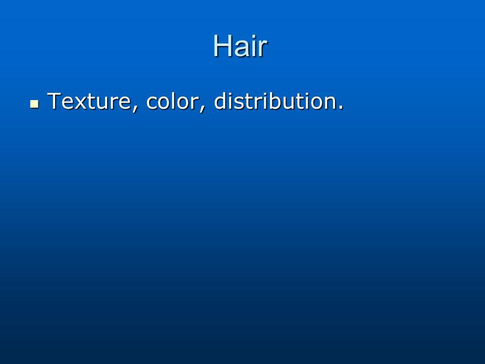 Hair Texture, color, distribution.