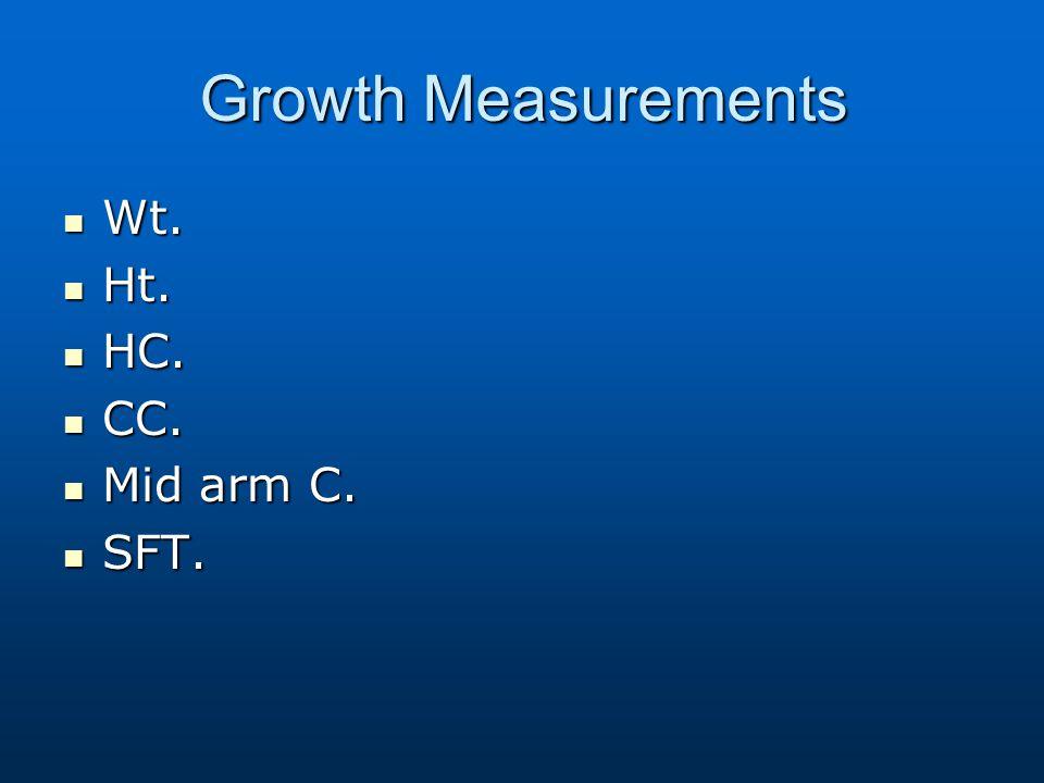 Growth Measurements Wt. Ht. HC. CC. Mid arm C. SFT.
