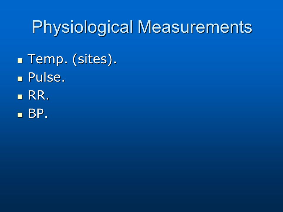 Physiological Measurements