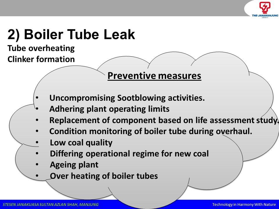 2) Boiler Tube Leak Tube overheating Clinker formation