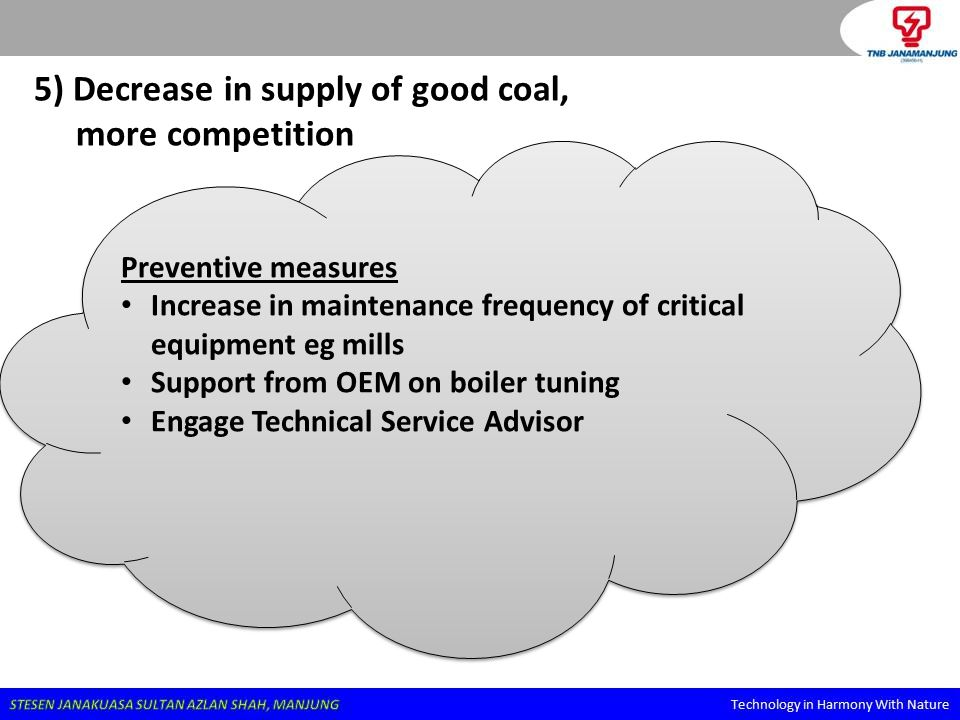5) Decrease in supply of good coal, more competition