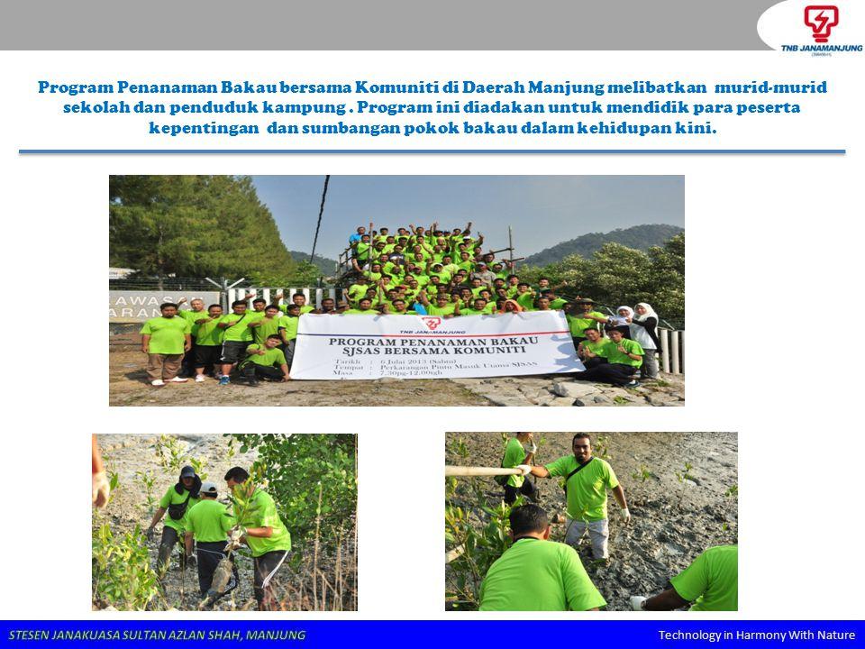 Program Penanaman Bakau bersama Komuniti di Daerah Manjung melibatkan murid-murid sekolah dan penduduk kampung .