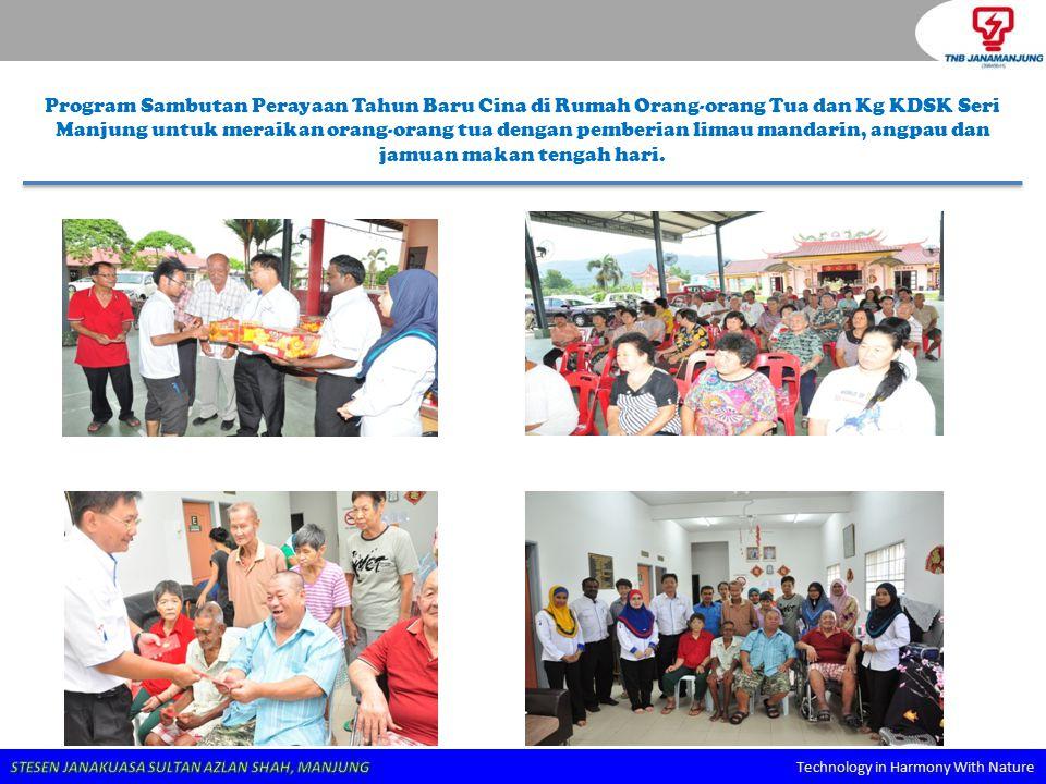 Program Sambutan Perayaan Tahun Baru Cina di Rumah Orang-orang Tua dan Kg KDSK Seri Manjung untuk meraikan orang-orang tua dengan pemberian limau mandarin, angpau dan jamuan makan tengah hari.
