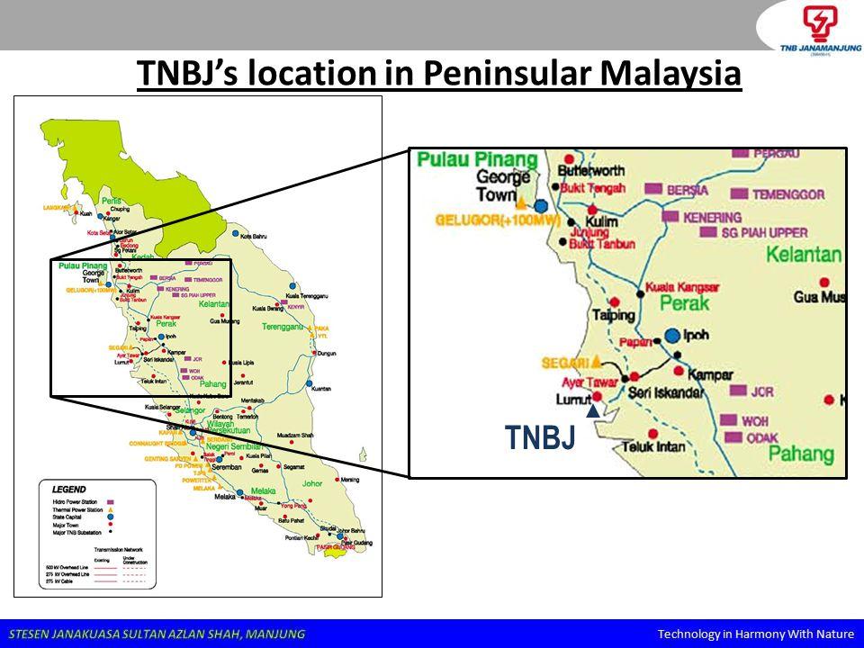TNBJ's location in Peninsular Malaysia