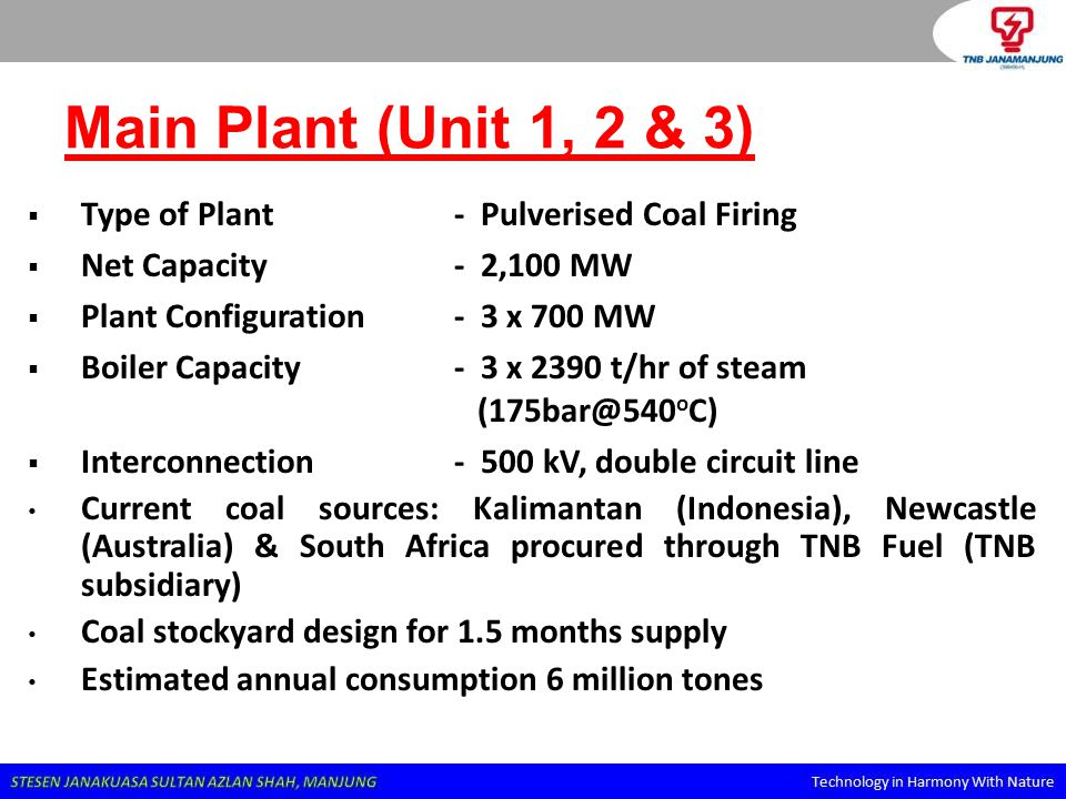 Main Plant (Unit 1, 2 & 3) Type of Plant - Pulverised Coal Firing