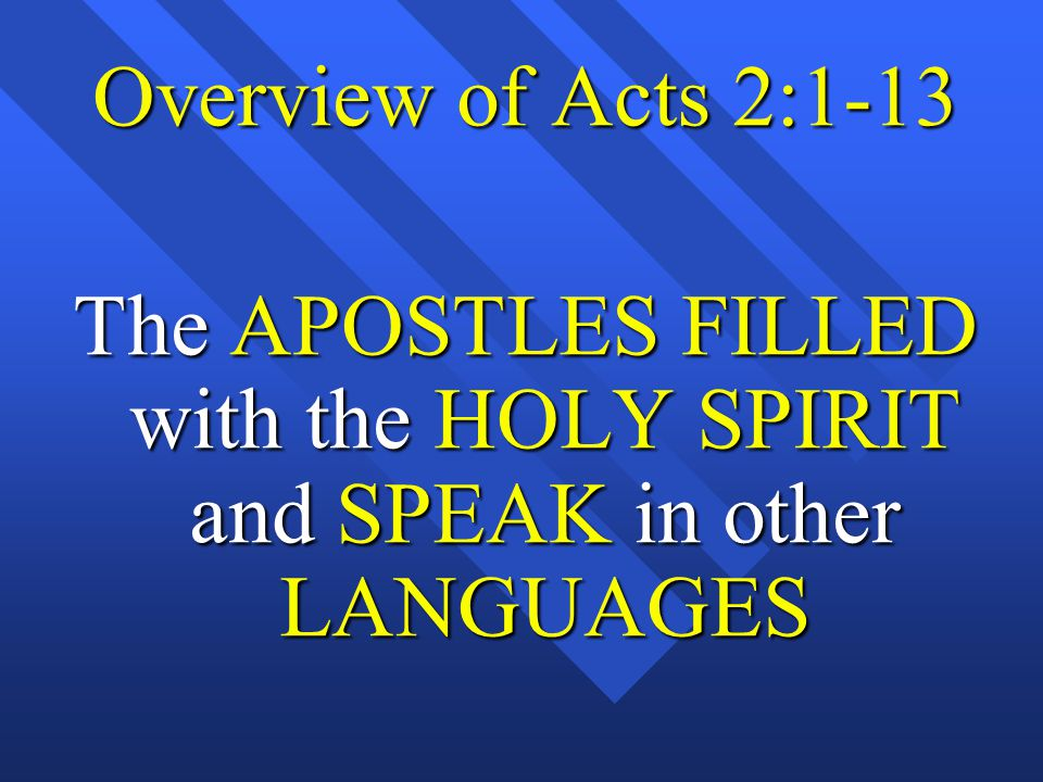 The APOSTLES FILLED with the HOLY SPIRIT and SPEAK in other LANGUAGES