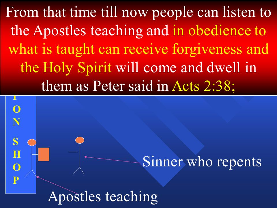 From that time till now people can listen to the Apostles teaching and in obedience to what is taught can receive forgiveness and the Holy Spirit will come and dwell in them as Peter said in Acts 2:38;