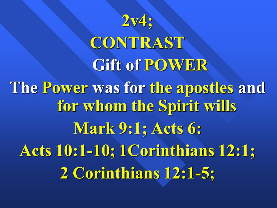 The Power was for the apostles and for whom the Spirit wills