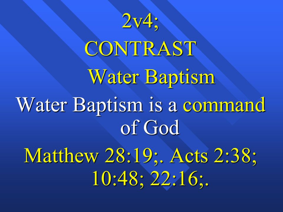 Water Baptism is a command of God