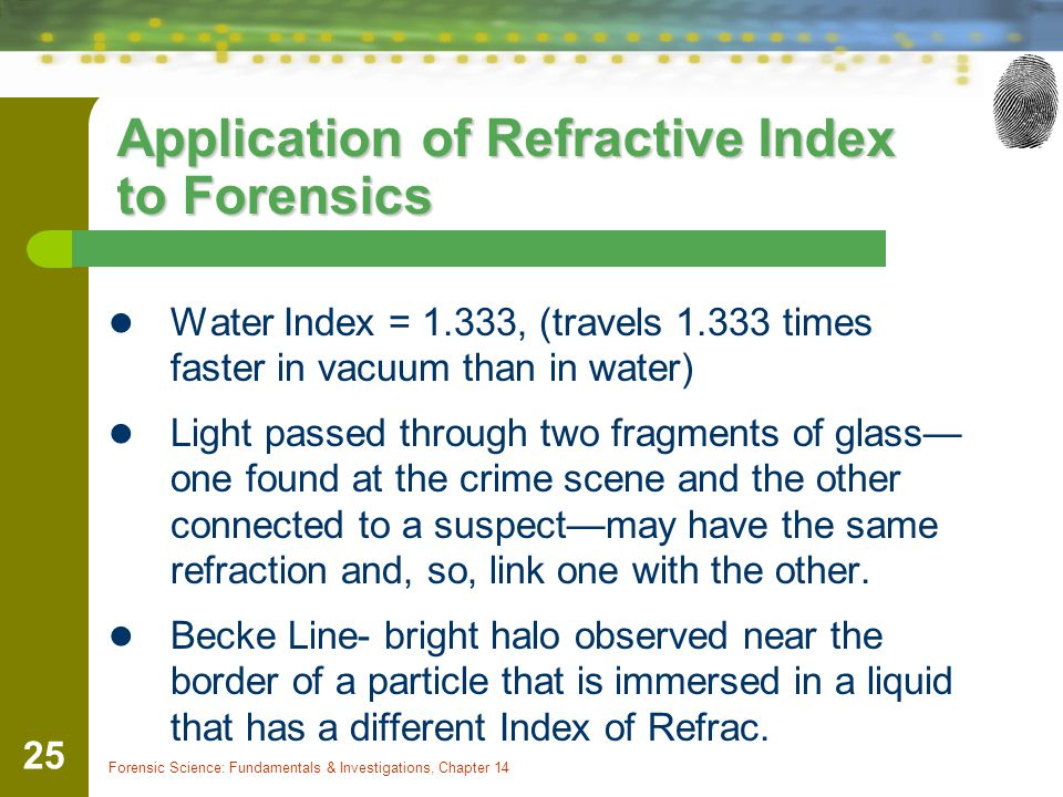 Application of Refractive Index to Forensics