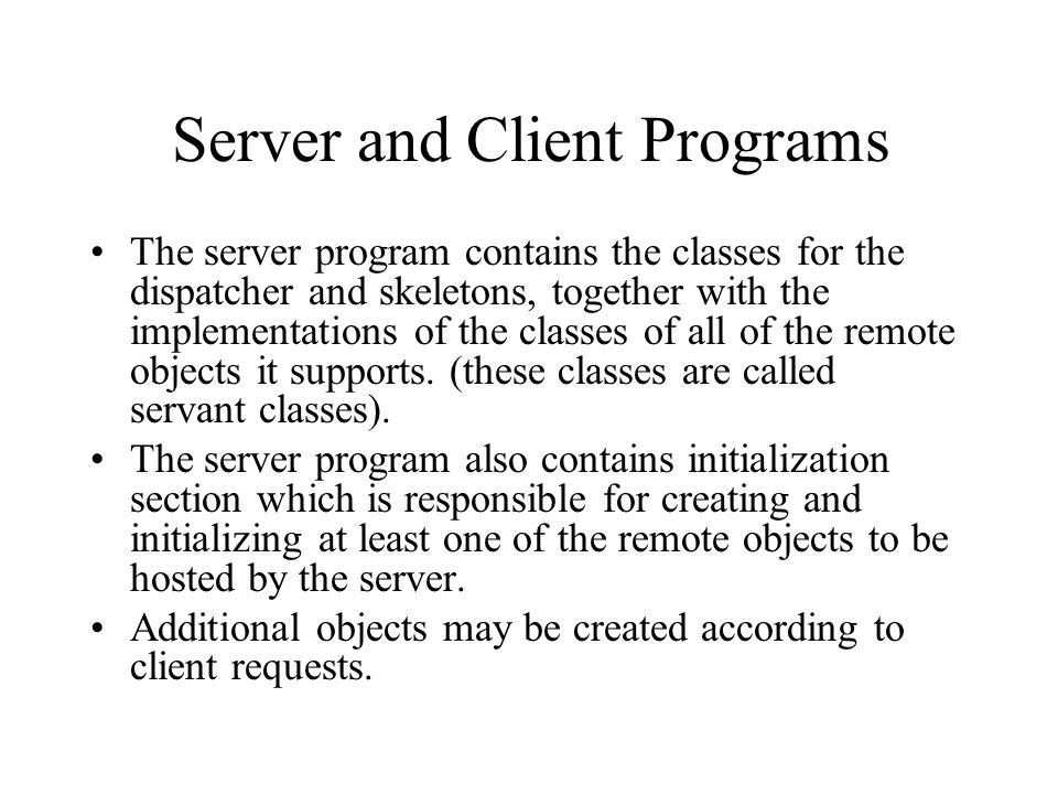 Server and Client Programs