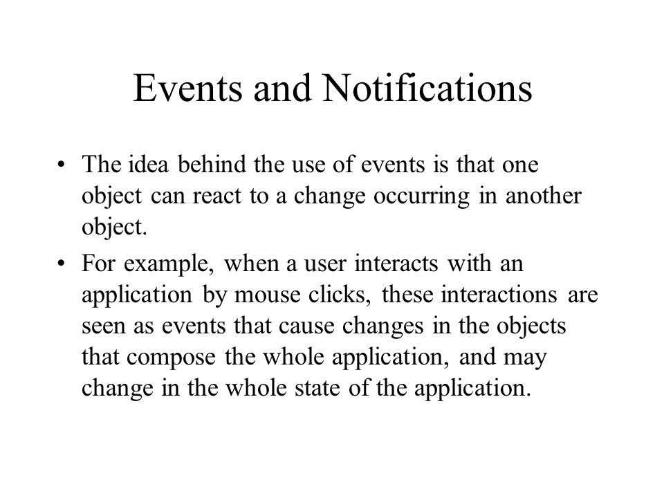 Events and Notifications