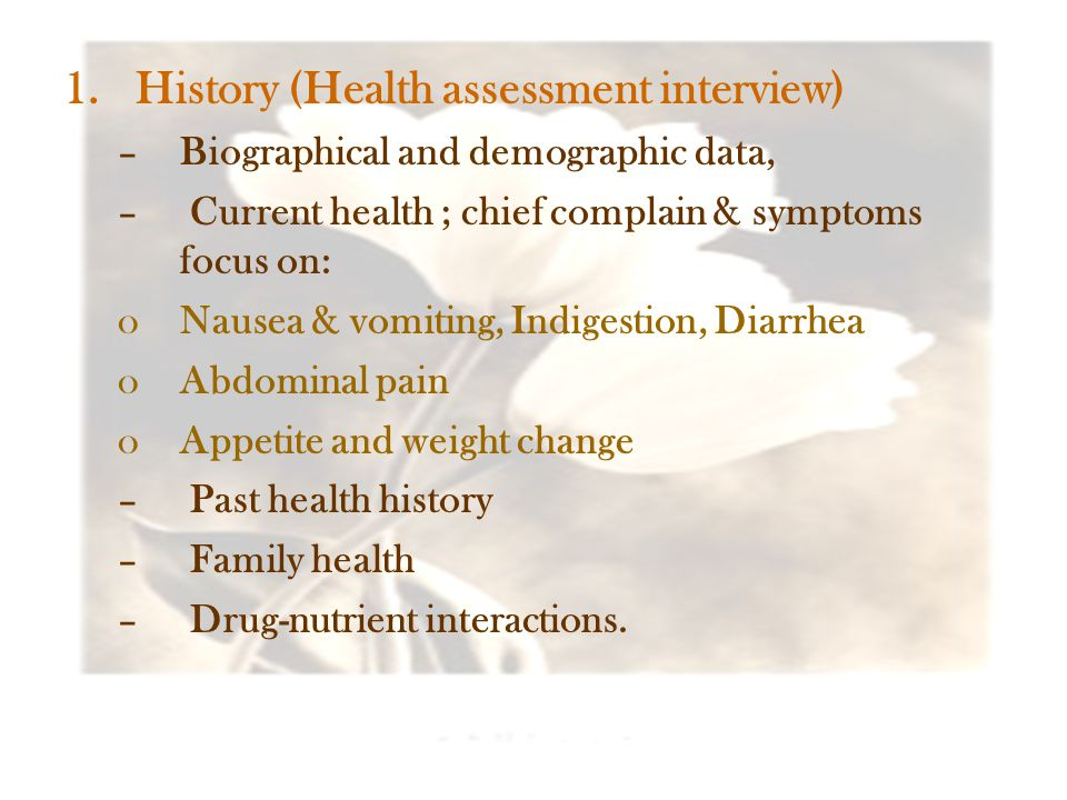 History (Health assessment interview)