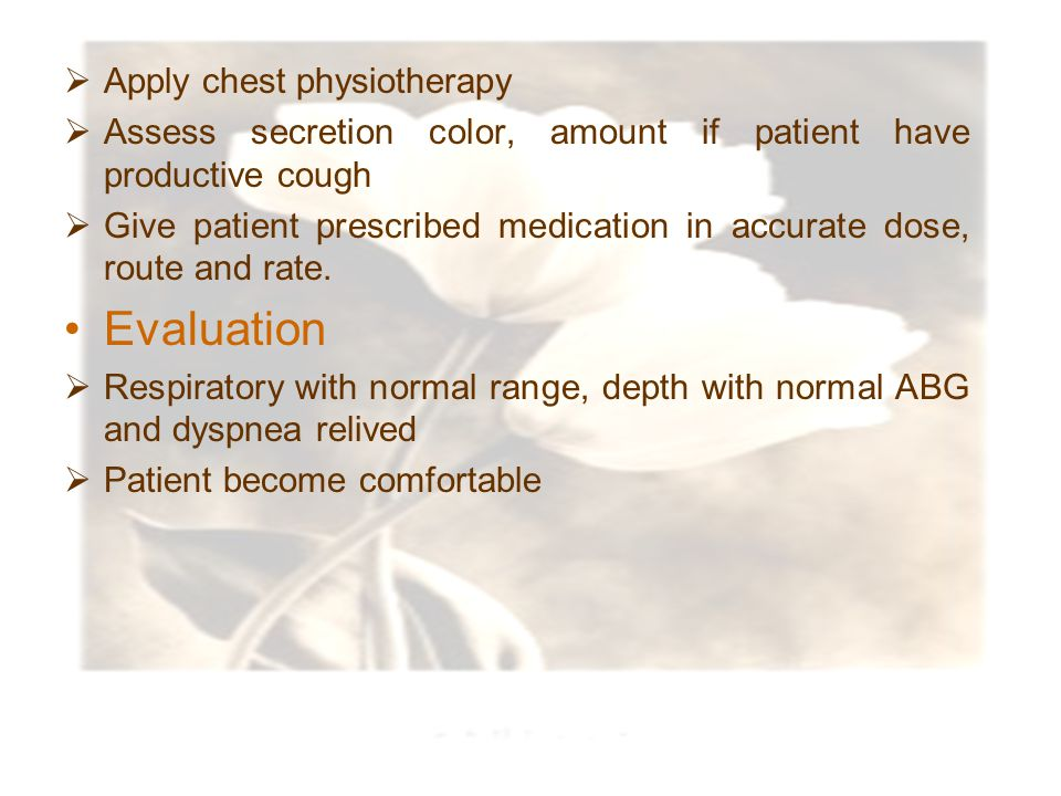 Evaluation Apply chest physiotherapy